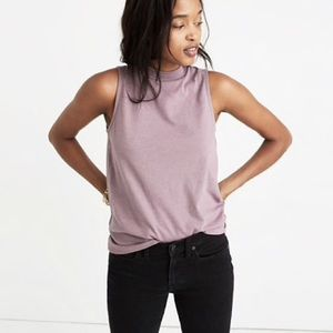 Madewell Mock Neck Tank Top in Mauve